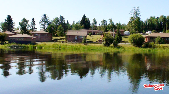 A view of Fisherman's Cove Resort from Lac Seul